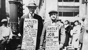 Two Men With Job Boards In 1929